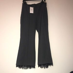 Zara lace hem crop flare pant